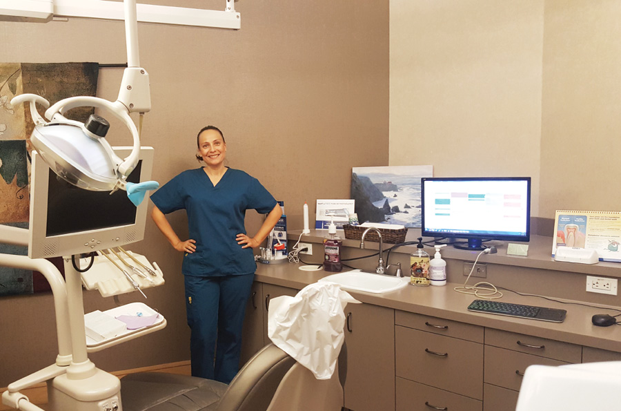 Elizabeth Grillo, RDH, proudly shows us the two operatories where she practices in the San Francisco area.